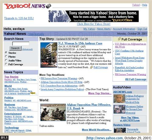This page template from the Yahoo! News homepage targets its database content to specific locations on the page.