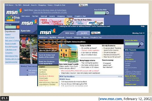 MSN uses color, layout, fonts, and its logo consistently throughout its site to reinforce its brand.