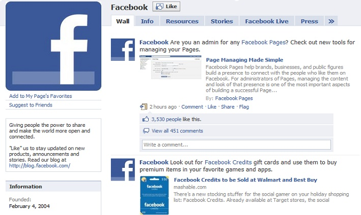 Even Facebook itself has a Facebook Page.