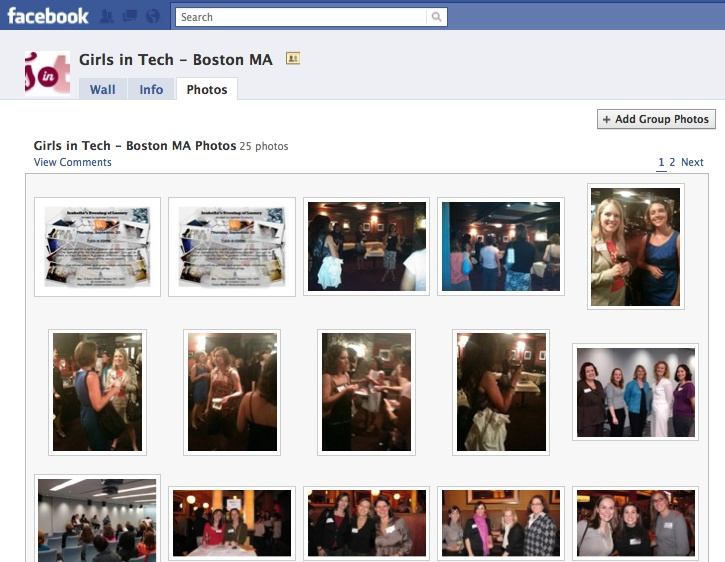 Photo albums are very popular with Groups because they bring a more human element that Pages lack. This local Group posts photos of members at events.