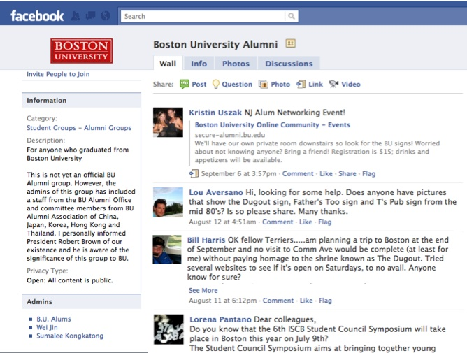 This Facebook Group connects Boston University Alumni, a subset of the entire Boston University faculty, student, and alumni community.