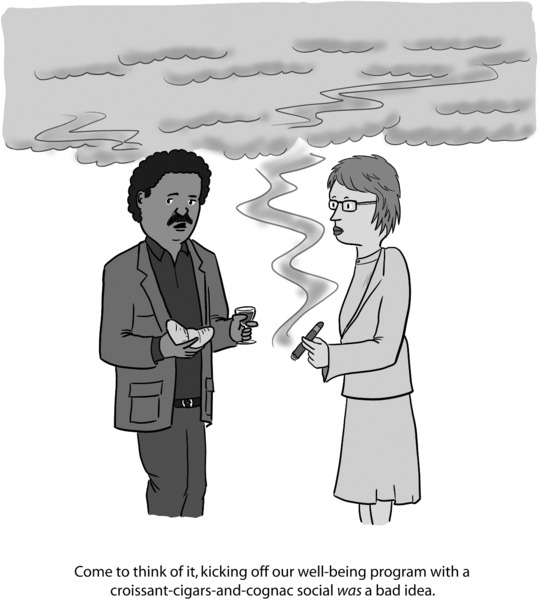 Cartoon shows a man holding a croissant telling a woman holding a cigar, 'Come to think of it, kicking off our well-being program with a croissant-cigars-and-cognac social was a bad idea.' while a cloud of smoke looms above them.