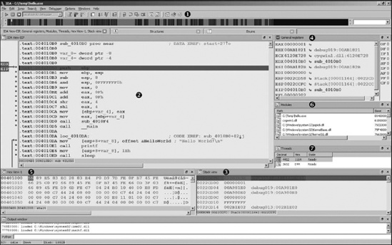 IDA debugger display
