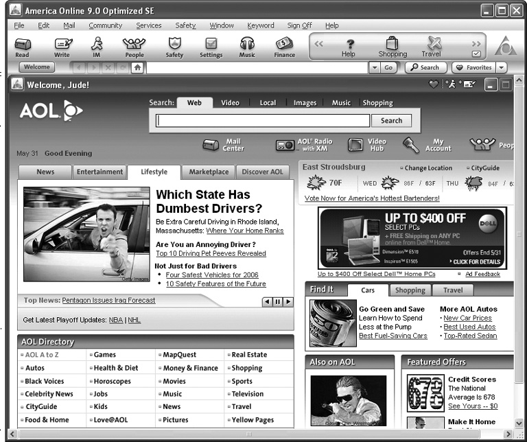 When you log on to AOL, you land on its Welcome screen. On this page, you can quickly see the top news stories of the day, the current weather conditions, and a link to the latest sports scores. This onscreen dashboard also gives you icons to click your way into other corners of the service—like your AOL mailbox or the company's online music and video offerings. As you can see, your eyeballs also get pelted with a few advertisements here and there for good measure.