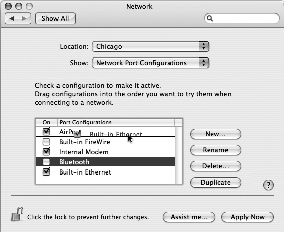 The key to multihoming is sliding the network connection methods' names up or down (and turning off the ones you don't intend to use in this location). You can also rename the different configurations by double-clicking them.