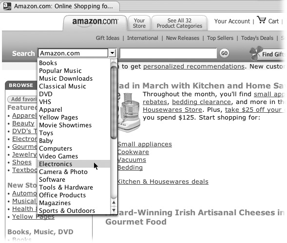 You can get a shortcut to search any of Amazon's specialty areas by selecting a category from the list and then typing your keywords in the search box. If Amazon doesn't sell what you're looking for, it probably knows someone who does.