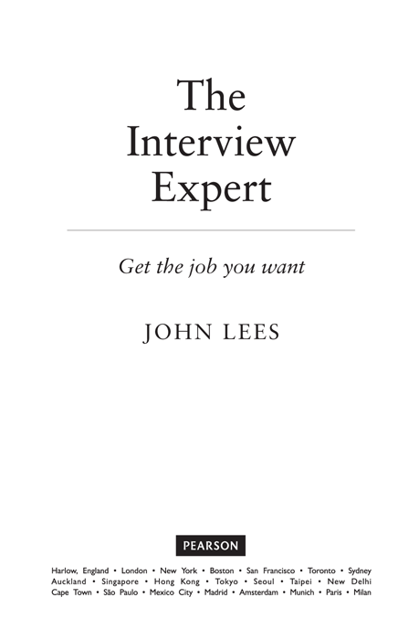 Title Page The Interview Expert Book