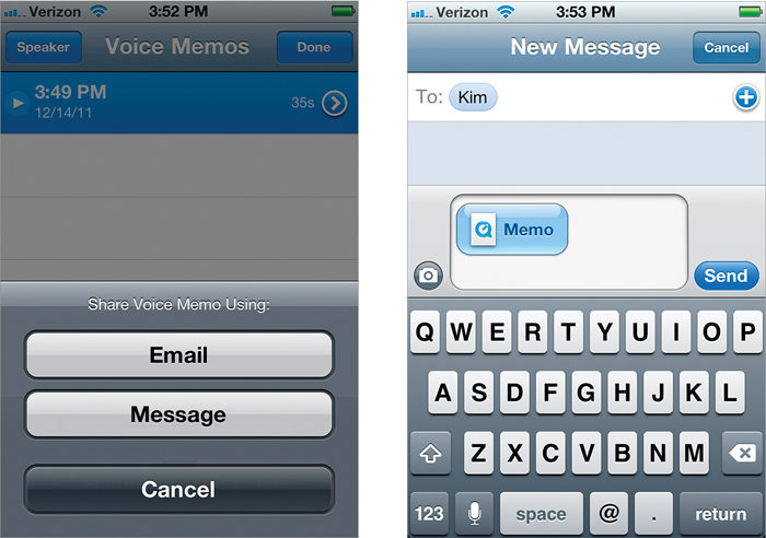 Sending Voice Memos in a Text Message - The iPhone Book: Covers