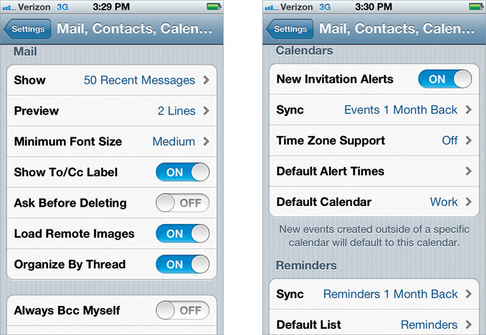 add email to iphone your mail contacts calendars settings the iphone book 13359