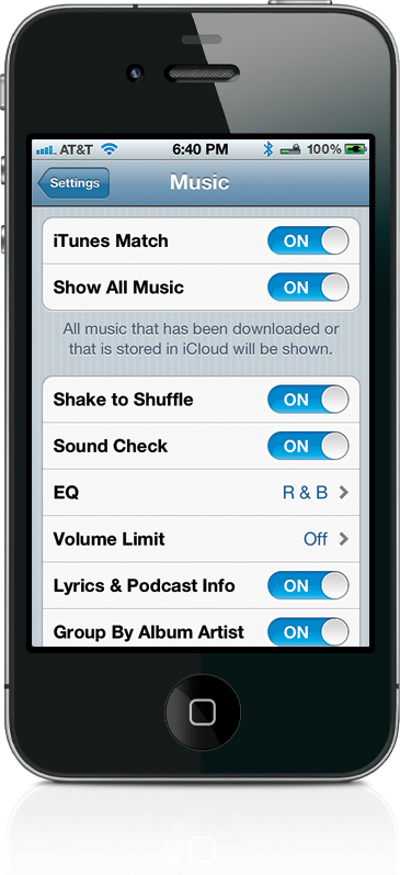 Your Music App Settings - The iPhone Book: Covers iPhone 4S