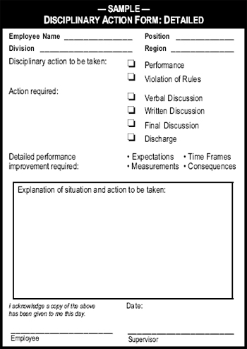 Sample: Disciplinary Action Form: Detailed - The Manager'S Pocket