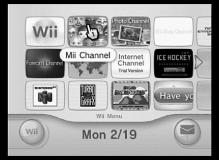 The main screen of the Wii.