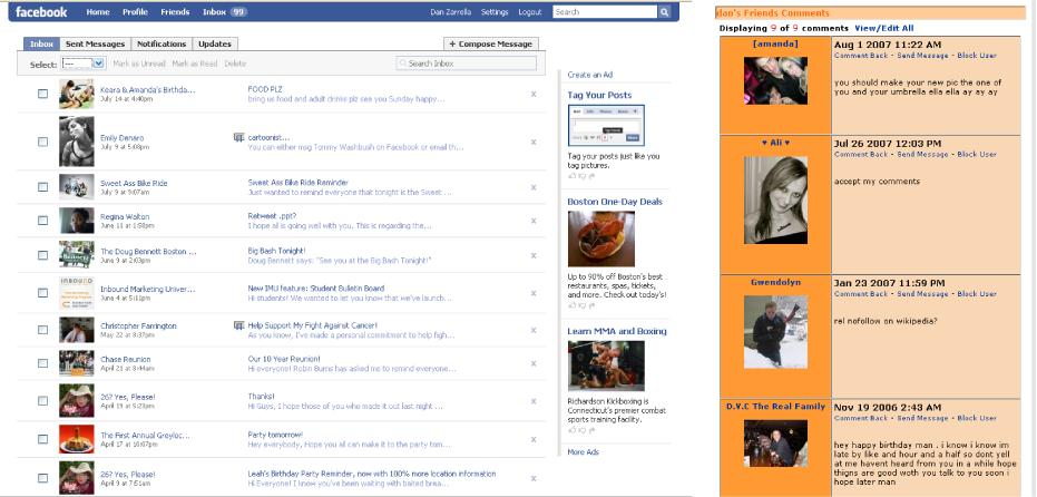 On the left is an example of a Facebook inbox; on the right, a MySpace inbox.