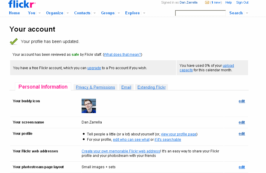 You can edit your personal information on Flickr.
