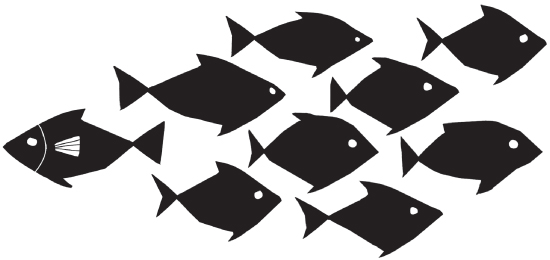 Illustration of silhoutte of a school of fish (nine fish). While eight fish are seen moving toward the right-hand direction, one fish, with a fin, is seen moving in the opposite direction.