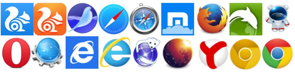 Logos from 18 different browsers or browser versions