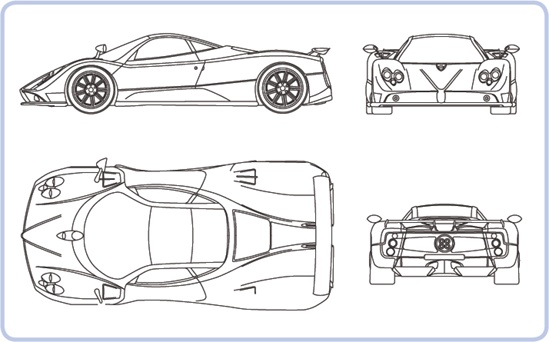A typical blueprint showing the Pagani Zonda C12 F sports car