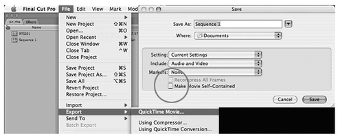 "Figure 66-2 To make a Reference Movie in Final Cut Pro, un-check the ""Self-Contained"" option."