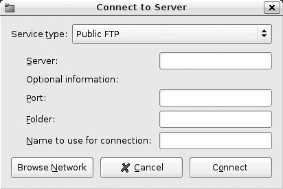 "A sample ""Connect to Server"" dialog for FTP connections"