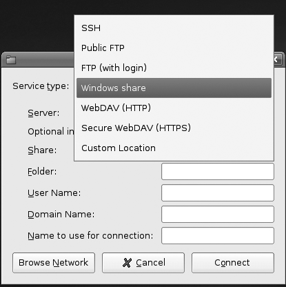 The submenu shows the different types of remote servers you can connect to