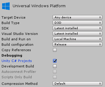 Building and deploying from Visual Studio - Unity 2018 Augmented