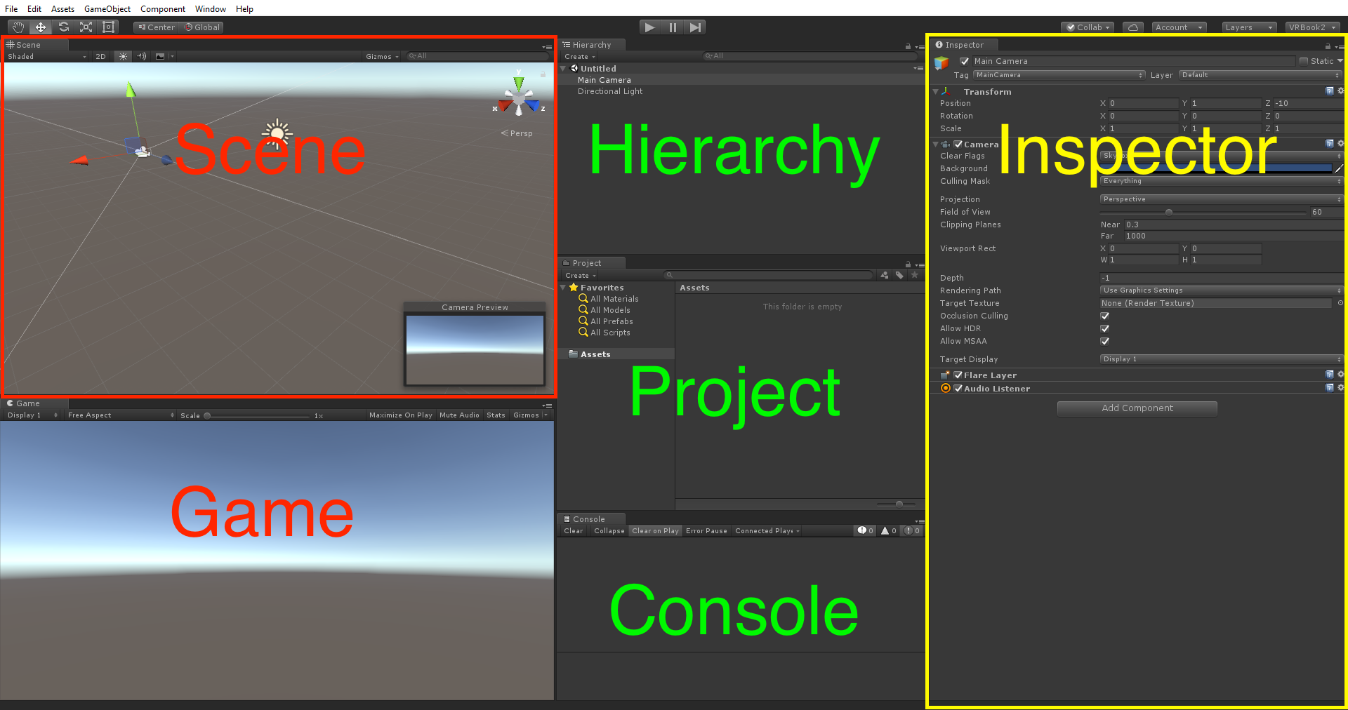 The Unity editor - Unity Virtual Reality Projects - Second