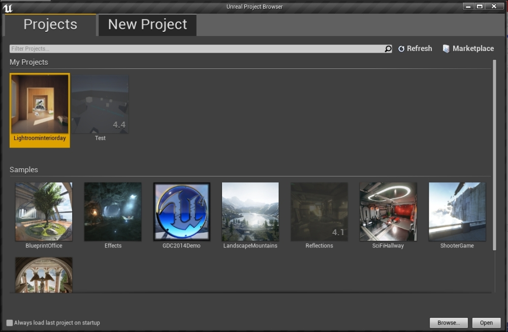The Unreal Project Browser