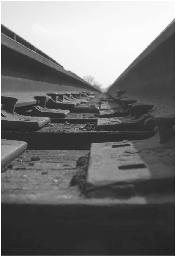 FIGURE 3.1 Detail of railroad tracks. You can combine a number of different composition guidelines in one image. Nikon D300s with Nikon 35 mm f/1.8G. 1/160 @ f/11 ISO 200