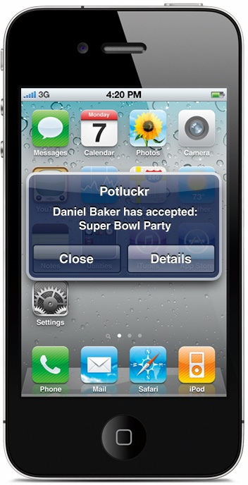 Potluck application sending an iOS notification to notify party attendees that a new attendee accepted the party invitation
