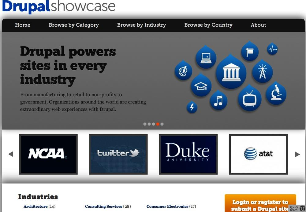The Drupal Showcase highlights high-profile sites in multiple industries, categories, and countries