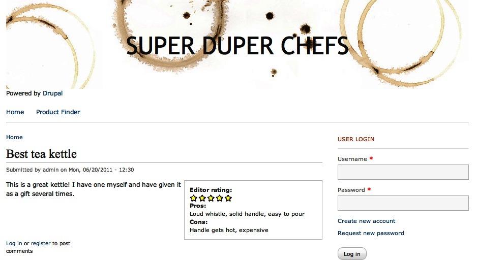 The completed Super Duper Chefs website