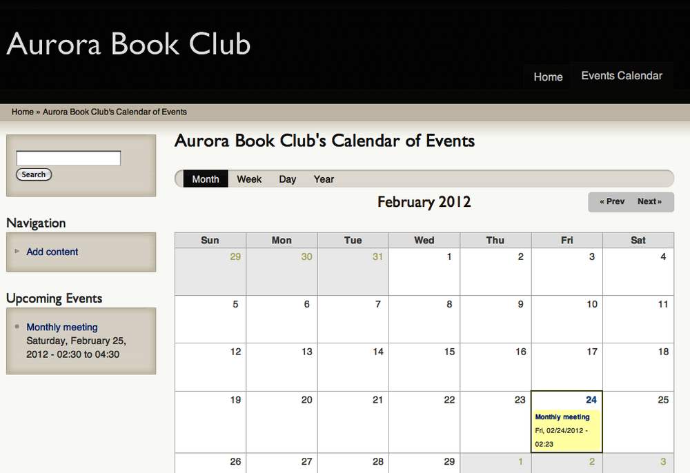 The completed Aurora Book Club site
