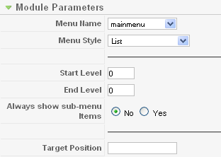 Module Parameters for Main Menu Module: [Edit]