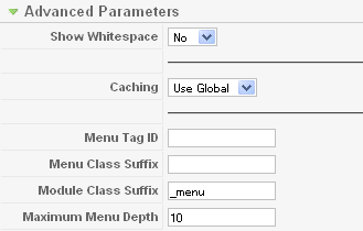 Advanced Parameters for Main Menu Module: [Edit]