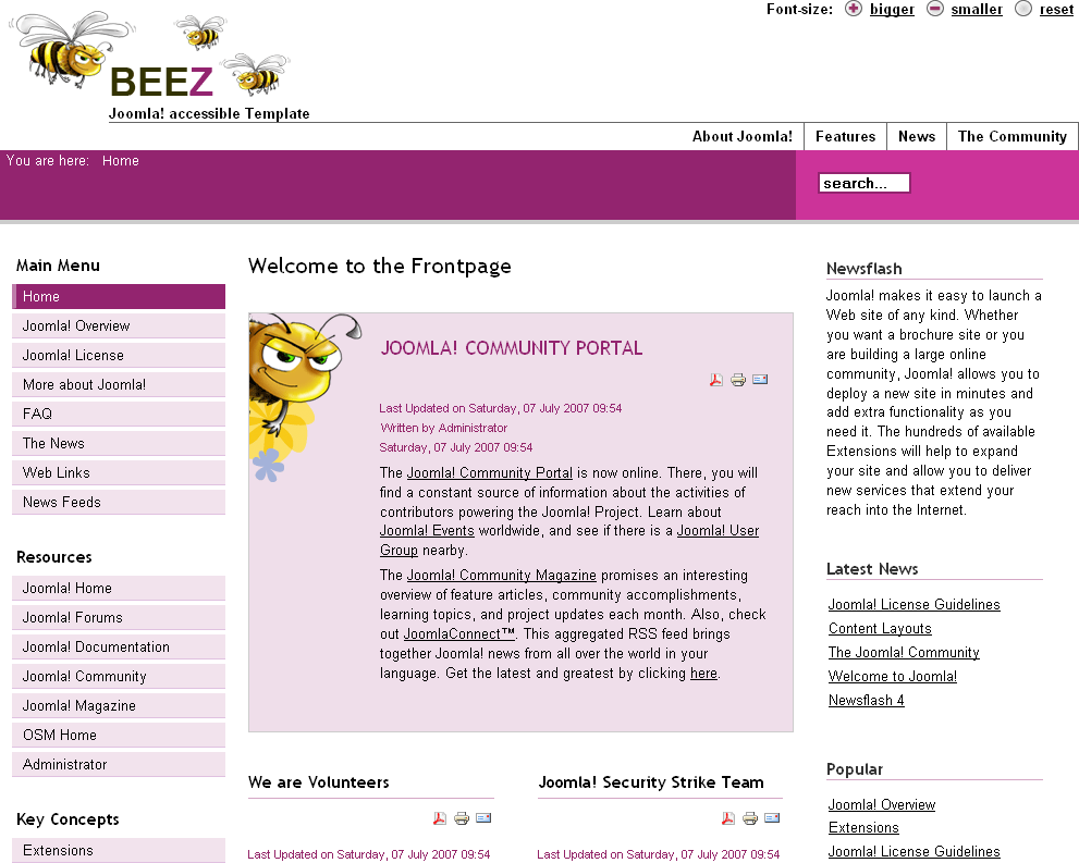 The Beez template with sample data