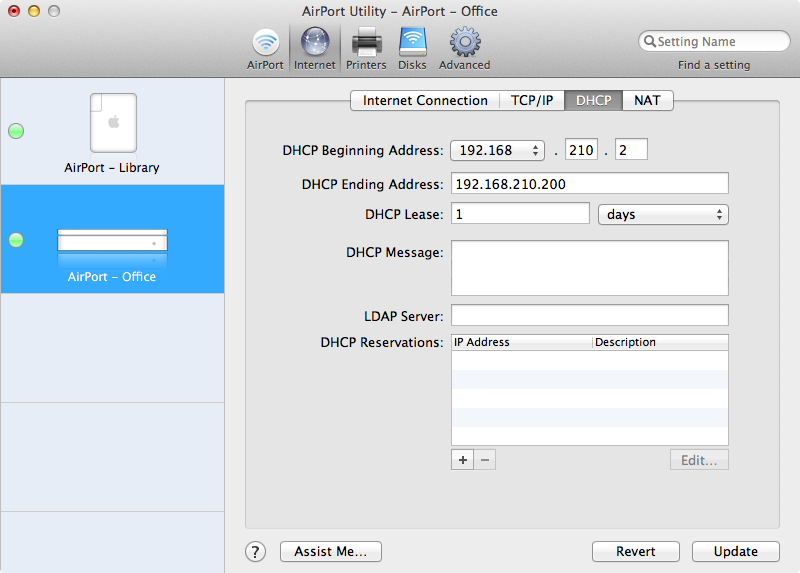 Configuring a DHCP scope on Apple AirPort