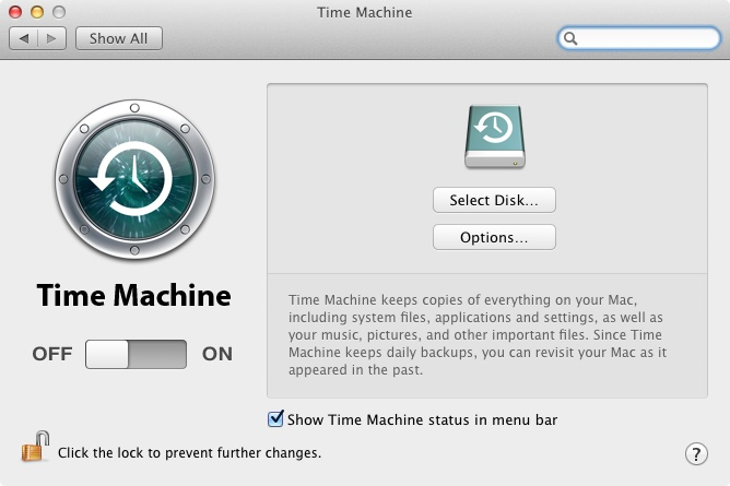 Setting up Time Machine