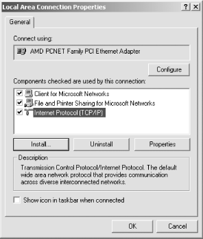 Windows 2000 Local Area Connection Properties dialog