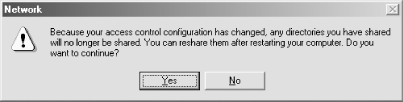 Error dialog while changing to user-level access control