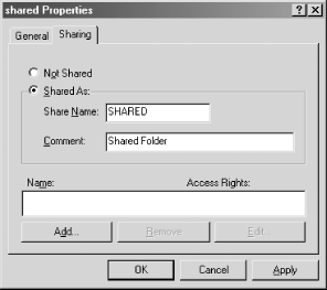 The Shared Properties dialog