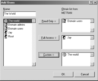 The Add Users dialog