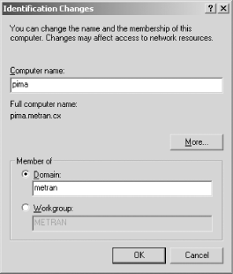 The Identification Changes dialog