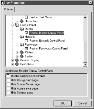 The Properties dialog of System Policy Editor