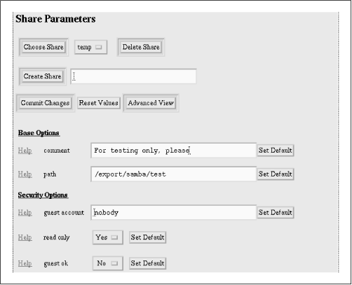 SWAT Share Parameters screen
