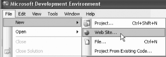 Creating a new web site in Visual Studio 2005
