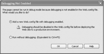 The Debugging Not Enabled dialog