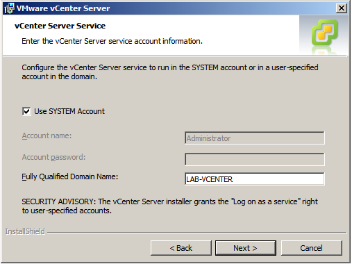 vCenter Server Database credentials