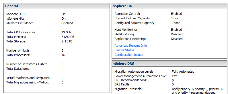 VMware cluster overview
