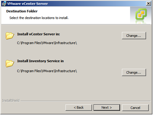 vCenter destination folders