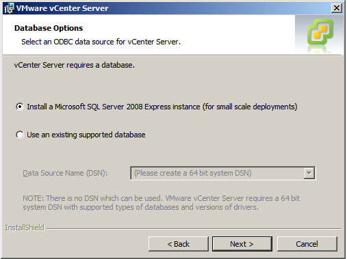 vCenter Server Database selection